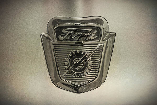 Wall Art - Photograph - 1956 Ford Pickup Emblem B And W by Nick Gray