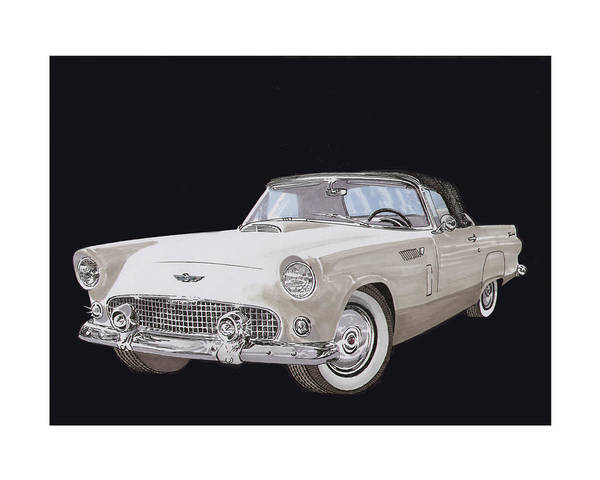 Developed Painting - 1956 Ford Thunderbird by Jack Pumphrey