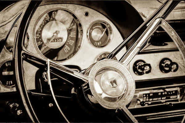 Wall Art - Photograph - 1956 Ford Victoria Steering Wheel -0461s by Jill Reger