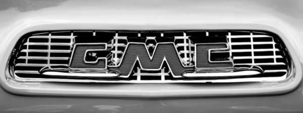 Wall Art - Photograph - 1956 Gmc 100 Deluxe Edition Pickup Truck  Grille Emblem -0584bw by Jill Reger