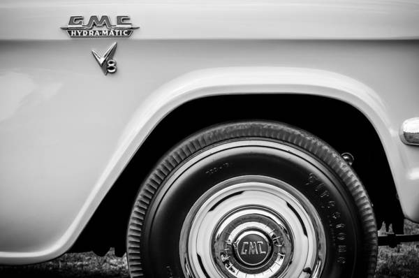 Photograph - 1956 Gmc 100 Deluxe Edition Pickup Truck  Side And Wheel Emblems -1498bw by Jill Reger