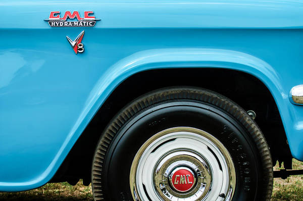 Photograph - 1956 Gmc 100 Deluxe Edition Pickup Truck  Side And Wheel Emblems -1498c by Jill Reger