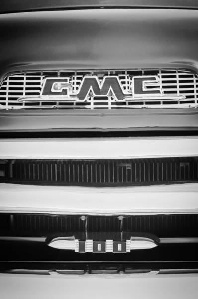 Photograph - 1956 Gmc Suburban Pickup Grille Emblem -0194bw1 by Jill Reger