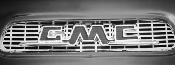 Wall Art - Photograph - 1956 Gmc Suburban Pickup Grille Emblem -0194bw2 by Jill Reger