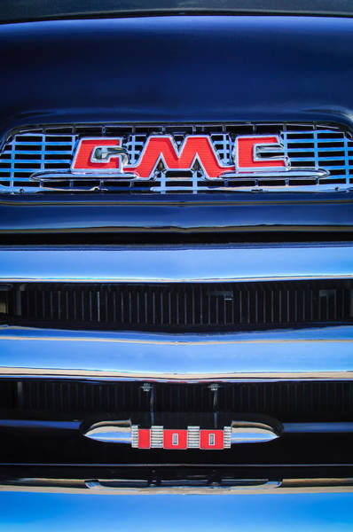 Wall Art - Photograph - 1956 Gmc Suburban Pickup Grille Emblem -0194c1 by Jill Reger