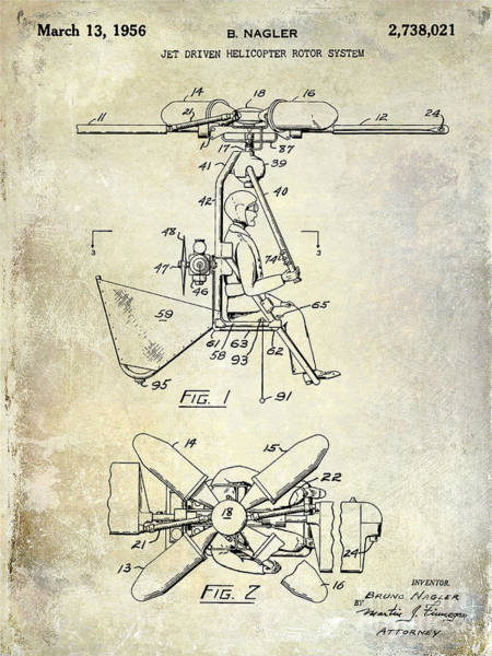 Copter Photograph - 1956 Helicopter Patent by Jon Neidert