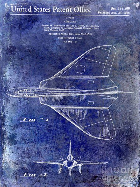 Vintage Airplane Photograph - 1956 Jet Airplane Patent Blue by Jon Neidert