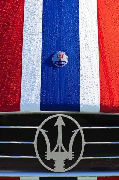 Photograph - 1956 Maserati 350 S Hood Ornament Emblem 3 by Jill Reger