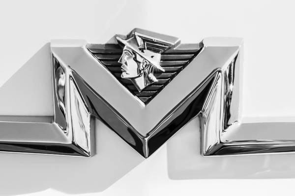 Wall Art - Photograph - 1956 Mercury Monterey Emblem -149bw by Jill Reger