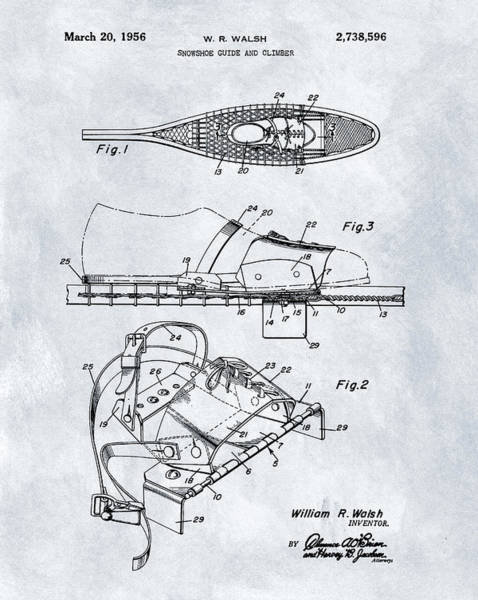 Hiking Drawing - 1956 Snowshoe Patent by Dan Sproul