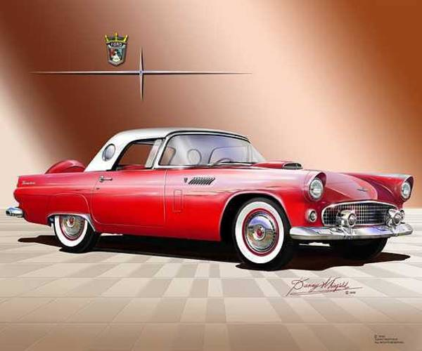 Car Drawings Mixed Media - 1956 Thunderbird by Danny Whitfield