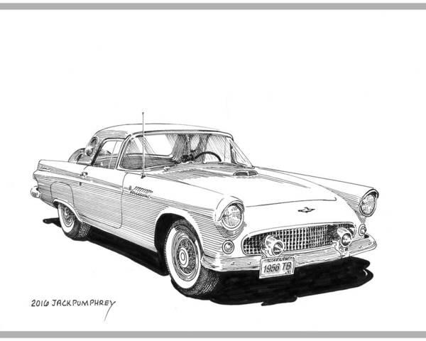 Developed Drawing - 1956 Thunderbird by Jack Pumphrey
