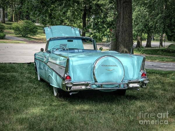 Photograph - 1957 Bel Air  Blue Convertible  by Luther Fine Art