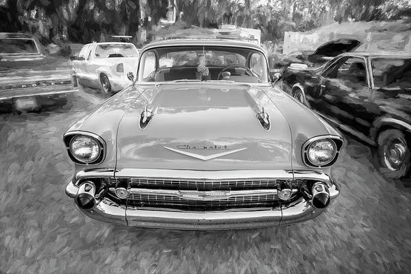 V8 Engine Photograph - 1957 Chevrolet Bel Air 283 Bw   by Rich Franco
