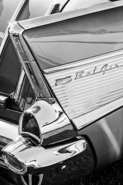 Photograph - 1957 Chevrolet Bel Air Tail Light Emblem -0140bw by Jill Reger