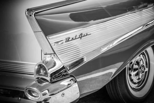 Photograph - 1957 Chevrolet Bel Air Tail Light Emblem -1010bw by Jill Reger