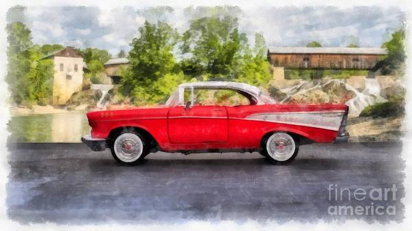 Car Show Painting - 1957 Chevrolet Bel Air Watercolor by Edward Fielding