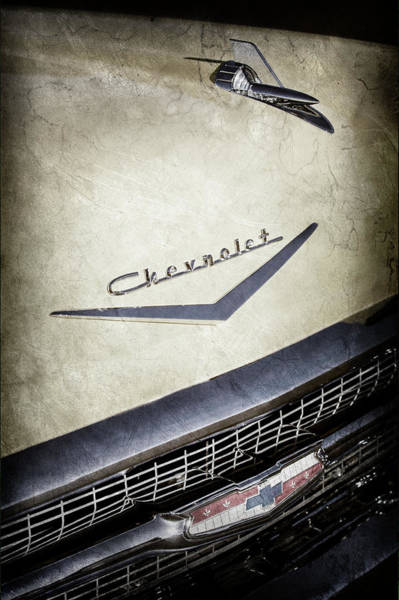 Wall Art - Photograph - 1957 Chevrolet Belair Hood Ornament - Emblem -0724ac by Jill Reger