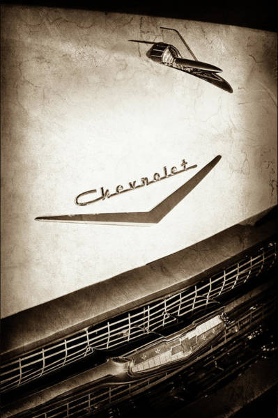 Wall Art - Photograph - 1957 Chevrolet Belair Hood Ornament - Emblem -0724s by Jill Reger