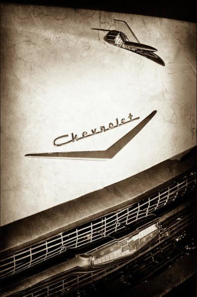 Wall Art - Photograph - 1957 Chevrolet Belair Hood Ornament - Emblem -0724s by Jill Reger