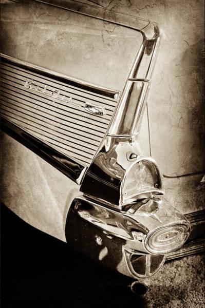 Wall Art - Photograph - 1957 Chevrolet Belair Taillight Emblem -0487s by Jill Reger