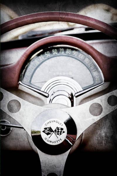 Wall Art - Photograph - 1957 Chevrolet Corvette Steering Wheel -309ac by Jill Reger