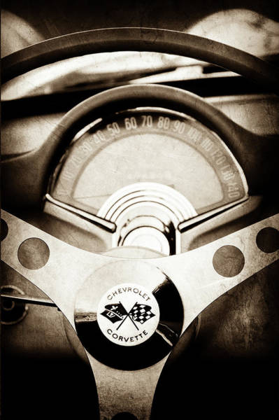 Wall Art - Photograph - 1957 Chevrolet Corvette Steering Wheel -309s by Jill Reger