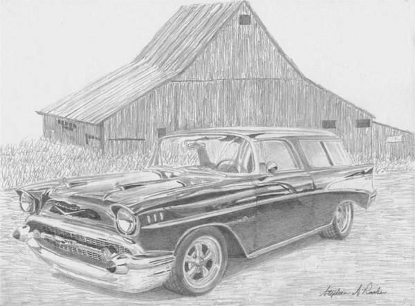 Nomad Drawing - 1957 Chevrolet Nomad Classic Car Art Print by Stephen Rooks