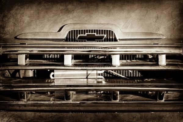 Wall Art - Photograph - 1957 Chevrolet Pickup Truck Grille Emblem -0324s by Jill Reger