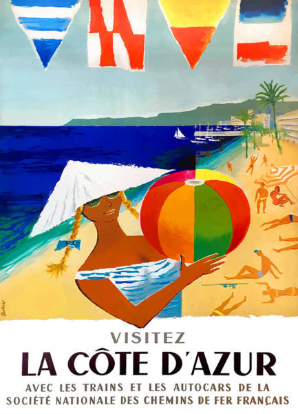 Wall Art - Digital Art - 1957 French Riviera Travel Poster by Retro Graphics