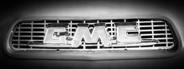 Wall Art - Photograph - 1957 Gmc Pickup Truck Grille Emblem -0329bw2 by Jill Reger