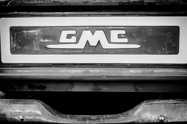 Photograph - 1957 Gmc Pickup Truck Tail Gate Emblem -0272bw1 by Jill Reger