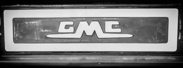 Wall Art - Photograph - 1957 Gmc Pickup Truck Tail Gate Emblem -0272bw2 by Jill Reger