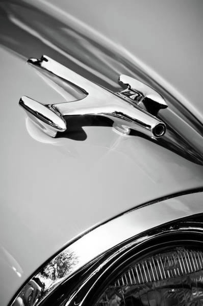 Photograph - 1957 Oldsmobile Hood Ornament -0267bw by Jill Reger