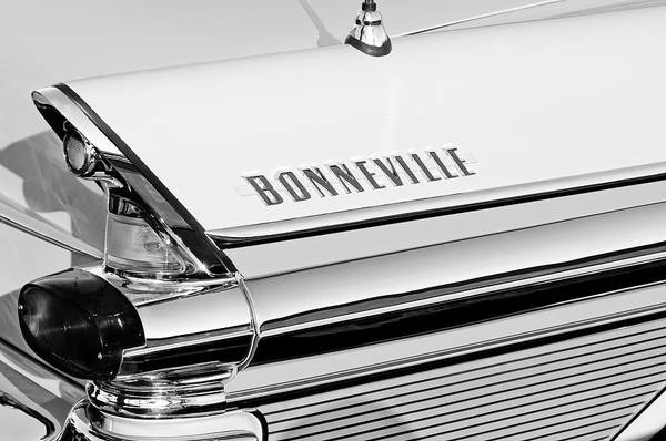 Wall Art - Photograph - 1957 Pontiac Bonneville Taillight Emblem -0106bw by Jill Reger