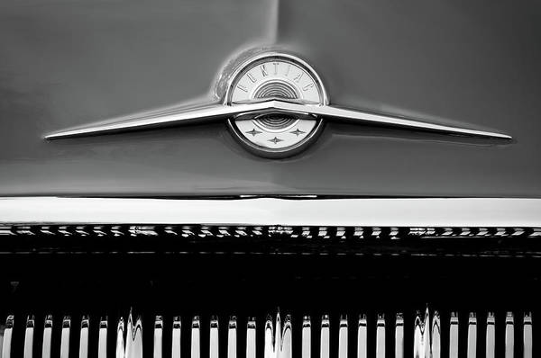 Photograph - 1957 Pontiac Emblem -0326bw by Jill Reger