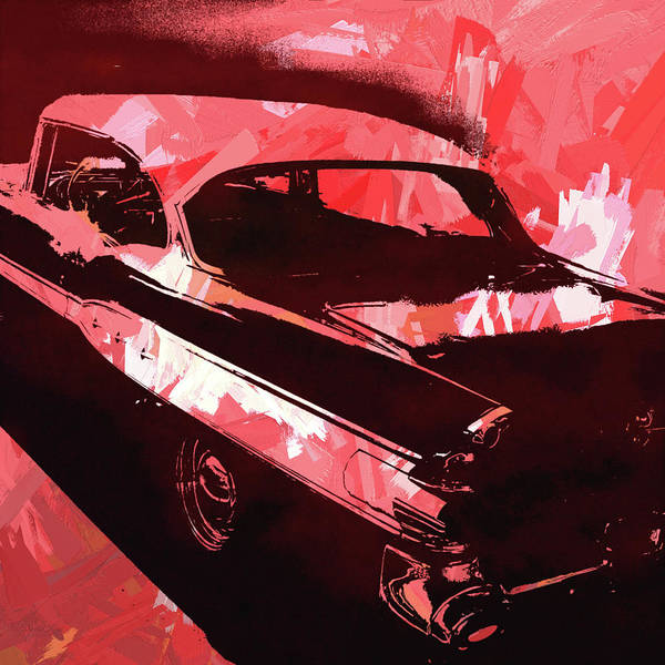 Digital Art - 1957 Pontiac Super Chief Red Pop by David King