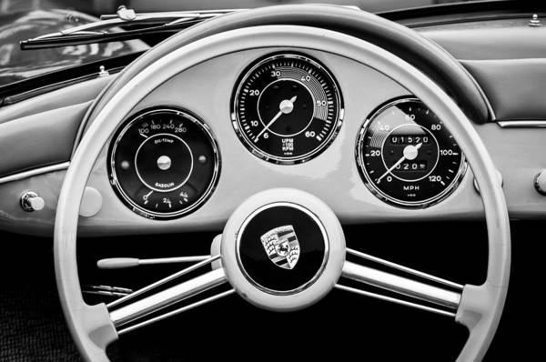 Photograph - 1957 Porsche 356a 1600s Speedster Steering Wheel Emblem -1822bw by Jill Reger