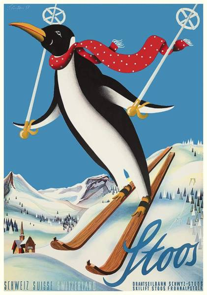 Wall Art - Digital Art - 1957 Stoos Switzerland Skiing Penguin Travel Poster by Retro Graphics