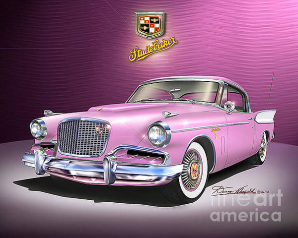 Car Drawings Mixed Media - 1957 Studebaker Golden Hawk  by Danny Whitfield