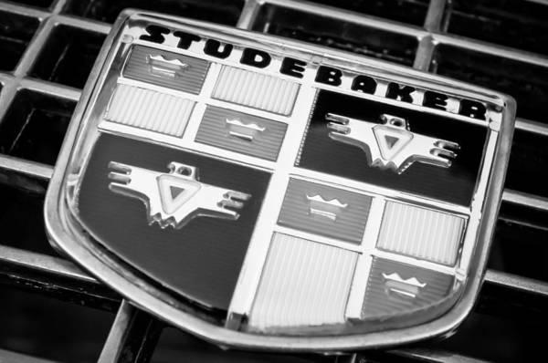 Photograph - 1957 Studebaker Golden Hawk Emblem -0393bw by Jill Reger