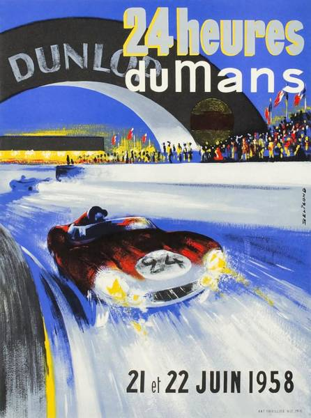 Wall Art - Digital Art - 1958 24h Le Mans Grand Prix Automobile Race Poster by Retro Graphics