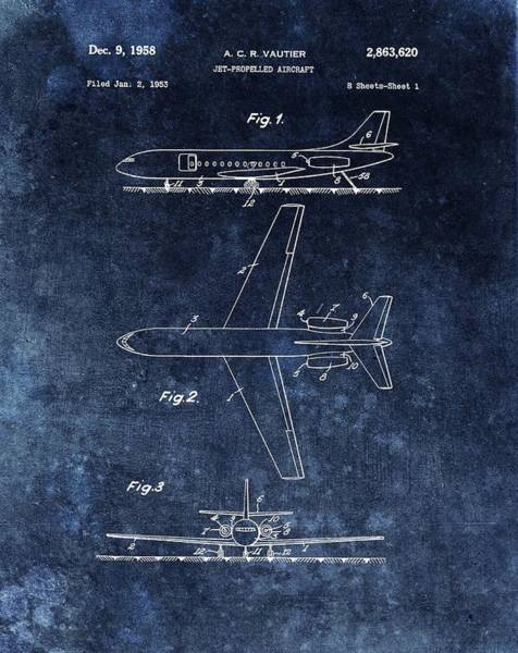 Vintage Airplane Drawing - 1958 Airplane Patent Blue by Dan Sproul