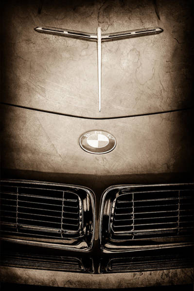 Wall Art - Photograph - 1958 Bmw 507 Series II Raodster Hood Emblem -2432s by Jill Reger
