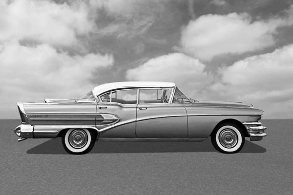 Photograph - 1958 Buick Roadmaster 75 In Black And White by Gill Billington