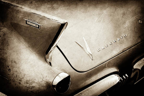 Wall Art - Photograph - 1958 Cadillac Eldorado Biarritz Taillight Emblems -0255s by Jill Reger