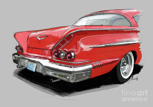 Chevrolet Drawing - 1958 Chevy Impala Sport Coupe 348, Gift For Husband by Drawspots Illustrations