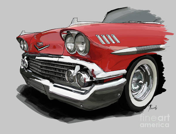 Chevrolet Drawing - 1958 Chevy Impala Sport Coupe 348 by Drawspots Illustrations