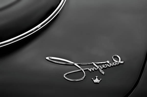 Wall Art - Photograph - 1958 Chrysler Imperial Emblem -0212bw by Jill Reger