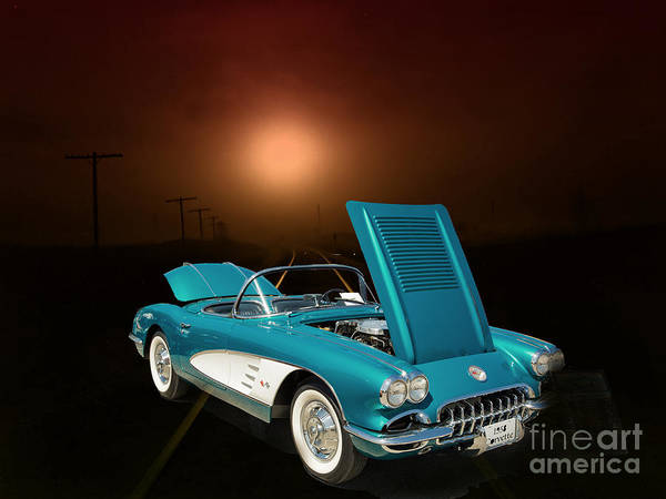 Photograph - 1958 Corvette By Chevrolet And A Train Photograph Print 3483.02 by M K Miller